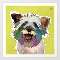 terrier Art Prints featuring Terrier by TiannaHarman