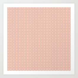 Peach and Silver Tile Square Pattern Art Print