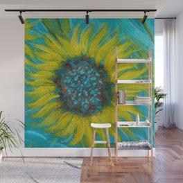 Sunflowers on Turquoise II Wall Mural