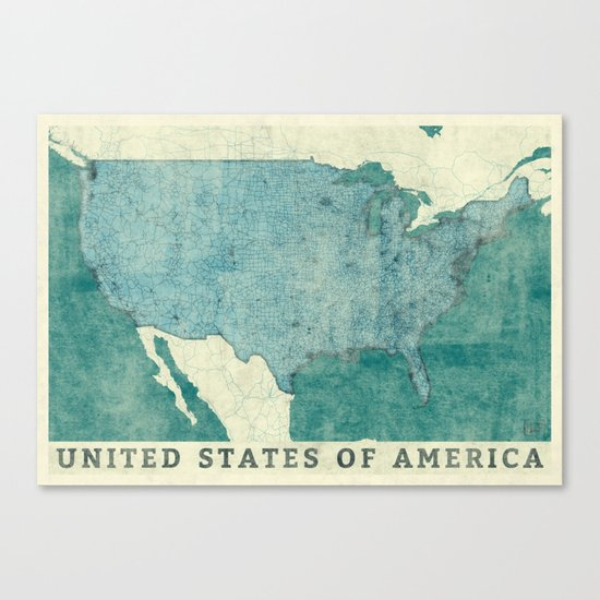 United States Of America Map Blue Vintage Canvas Print