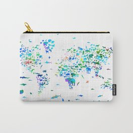 world map animals collage Carry-All Pouch