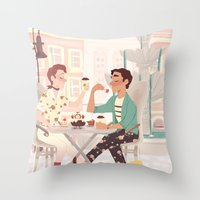 klaine Throw Pillows featuring Coffee Date by CRAZiE-CRiSSiE
