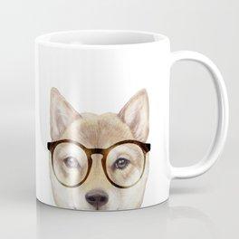 Shiba inu with glasses Dog illustration original painting print Coffee Mug