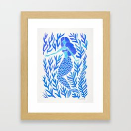 Kelp Forest Mermaid – Blue Palette Framed Art Print