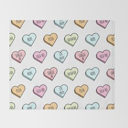 Sassy Valentines Candy Heart Pattern Throw Blanket