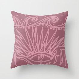 Saguaro Sunburst Mauve Throw Pillow