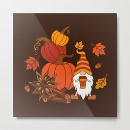 Pumpkins, star anise, cinnamon sticks, autumn leaves and gnome with a cup of pumpkin spice drink. Holiday card. Vintage fall design.  Metal Print