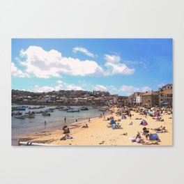 British Beach scene illustration, St Ives, English holiday resort Canvas Print