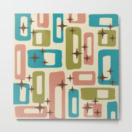 Retro Mid Century Modern Abstract Pattern 623 Olive Blue and Dusty Rose Metal Print