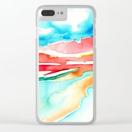 fire in the sky - beach at sunset Clear iPhone Case
