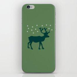Green Reindeer with Snowflakes iPhone Skin