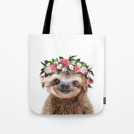 Baby Sloth With Flower Crown, Baby Animals Art Print By Synplus Tote Bag