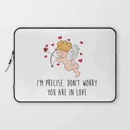 Cute Cupid with closed eyes aiming with his bow and arrow, funny illustration Laptop Sleeve