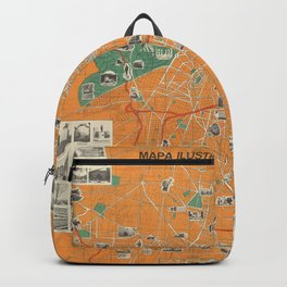 Vintage Map of Mexico City (Mexico) Backpack