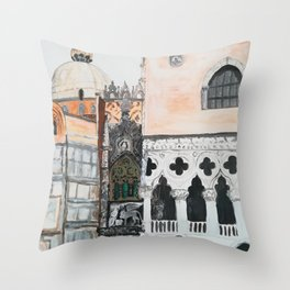 Venice architecture, Piazza San Marco, Dodge's Palace Throw Pillow