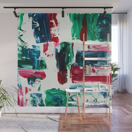 Jingle all the way green blue red white acrylic abstract brushstrokes christmas pattern Wall Mural
