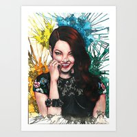 emma stone Art Prints featuring Emma Stone by catscratchproject