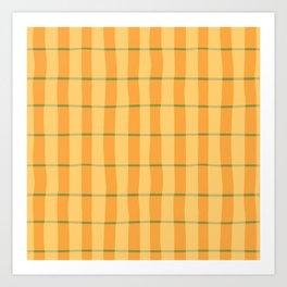 Modern Abstract Yellow Plaid Pattern Art Print