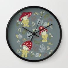 Melancholy Mushrooms Wall Clock