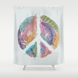 Feathers for Peace (Peace Sign) Shower Curtain