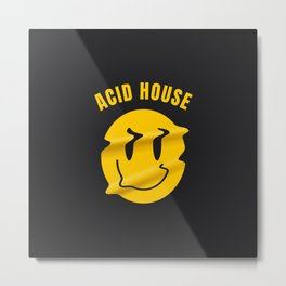 Acid Techno melted smiley | Electronic music dj gift. Metal Print