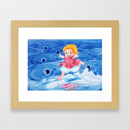 Ponyo Runs on Water with the Big Fishes Framed Art Print