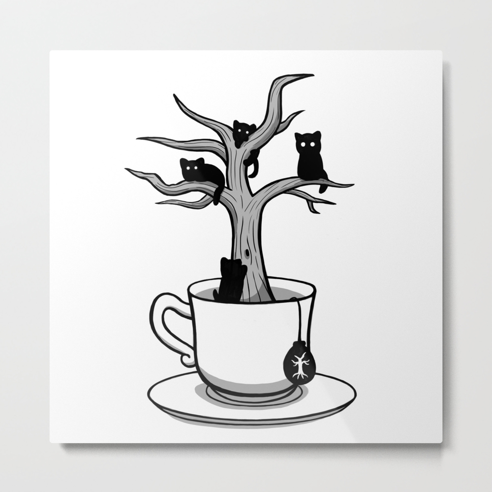 Bare Tree With Cats Growing Inside A Cup Of Tea Metal Print by Guiyukio MTP8348773