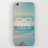 forever young iPhone & iPod Skins featuring Forever Young by hyakume
