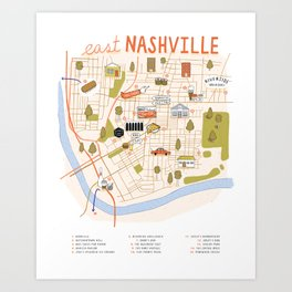 Illustrated East Nashville Map Art Print