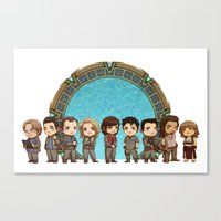 stargate Canvas Prints featuring Cast of Stargate Atlantis by Ravenno