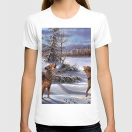 Pack Of Wolves Howling In Forest Ultra HD T-shirt