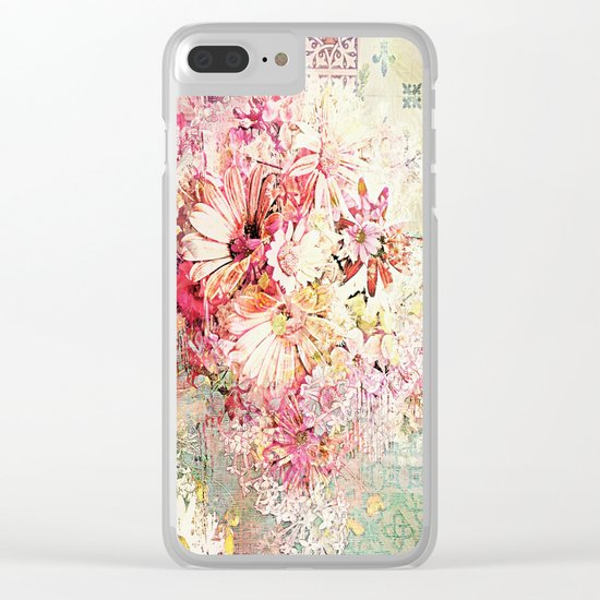 Shabby Chic Daisies Clear iPhone Case