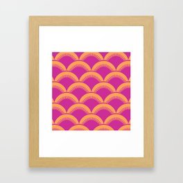 Japanese Fan Pattern Magenta and Orange Framed Art Print