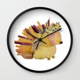 pressed flower hedgehog pink woodland animal Wall Clock