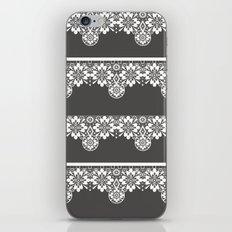 White seamless lace pattern on gray background iPhone & iPod Skin