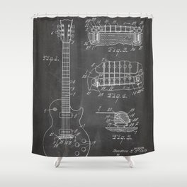 Gibson Guitar Patent - Les Paul Guitar Art - Black Chalkboard Shower Curtain