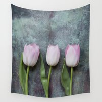 three of the possessed Wall Tapestries featuring Three Tulips by Maria Heyens