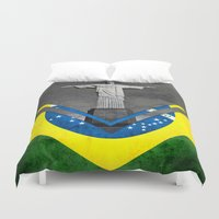 brazil Duvet Covers featuring Flags - Brazil by Ale Ibanez