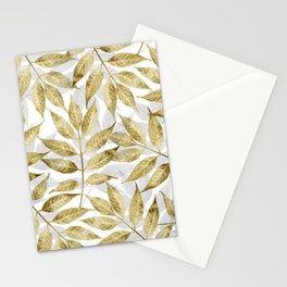 Modern gold autumn leaves design Stationery Cards
