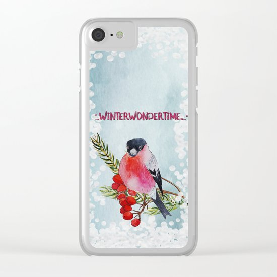 Winter Wondertime - Merry christmas- Little finch on branch-covered with snow Clear iPhone Case