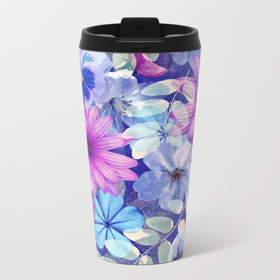 Dark pink and blue floral pattern Metal Travel Mug