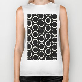 Polka Dots Circles Tribal Cream on Black Biker Tank