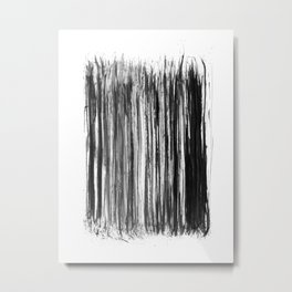 Black Watercolor Stripes Metal Print