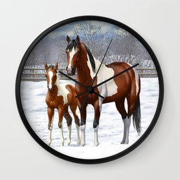 Bay Paint Horse Mare and Foal In Winter Wall Clock