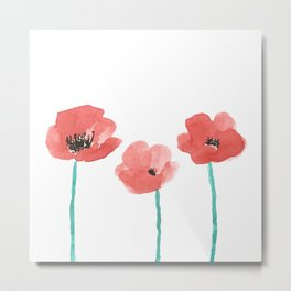 Three Poppies \\ Watercolor Flowers Metal Print