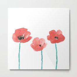 Three Poppies \\ Watercolor Flowers Metal Print
