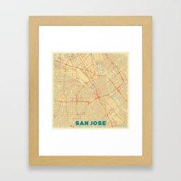 San Jose Map Retro Framed Art Print