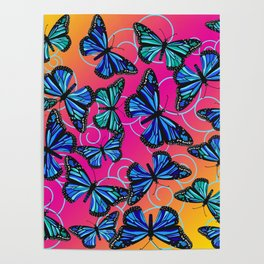 Cool Monarchs at Sunset Poster