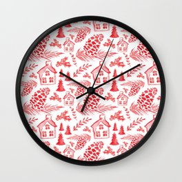 Watercolor Pinecones + Cottages Wall Clock