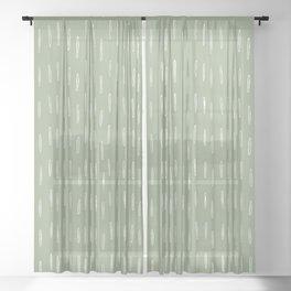 Raindrop Boho Abstract Pattern, Sage Green Sheer Curtain
